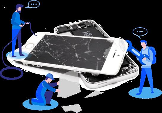 techs repairing phone