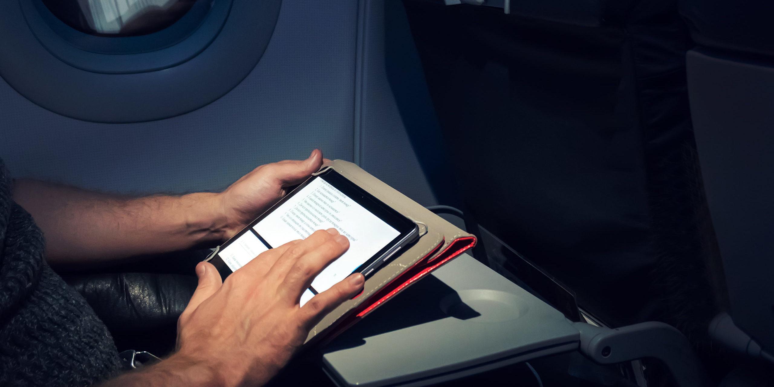Tablet on plane